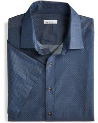 Bar Iii Slim-fit Performance Stretch Micro-dot Dobby Short Sleeve Dress Shirt, Created For Macy's - Blue