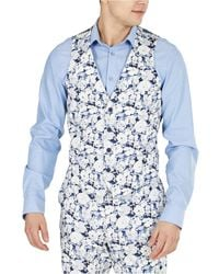 Bar Iii Slim-fit Floral Suit Separate Vest, Created For Macy's - Blue