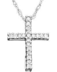 Macy's | Diamond Cross Pendant Necklace In 14k White Gold (1/10 Ct. T.w.) | Lyst