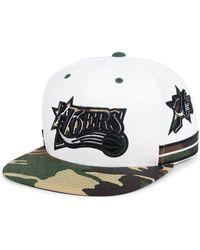 0c675ee55d9 Mitchell   Ness - Philadelphia 76ers Straight Fire Camo Hook Snapback Cap -  Lyst
