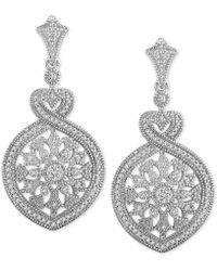 Macy's - Diamond Fancy Openwork Drop Earrings (1/3 Ct. T.w.) In Sterling Silver - Lyst