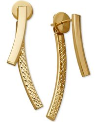 Macy's - Curved Bar Front And Back Earrings In 14k Gold - Lyst
