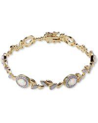 Macy's - Opal-look Stone & Diamond Accent Link Bracelet In 18k Gold-plated Bronze - Lyst