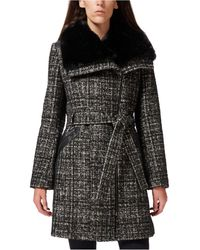 Via Spiga Petite Asymmetrical Faux-fur-collar Coat, Created For Macy's - Black