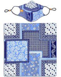 Con.struct X Best Friends Unisex Bandana Print Curved Mask And Bandana Set - Blue