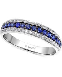 Effy Collection Effy® Sapphire (1/5 Ct. T.w.) And Diamond (3/8 Ct. T.w.) Band In 14k White Gold - Blue