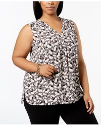 Anne Klein - Plus Size Printed Pleated Top - Lyst