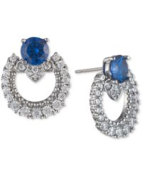Marchesa - Silver-tone Cubic Zirconia Link Button Earrings, Created For Macy's - Lyst