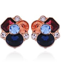 T Tahari Mixed Gems Clustered Stone Clip Earring - Blue