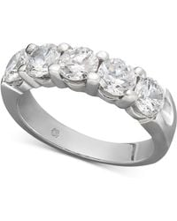Macy's - Certified Five Diamond Station Band Ring In 14k White Gold (2 Ct. T.w.) - Lyst