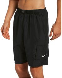 Nike Swim Belted Packable Volley Shorts - Black