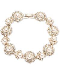 Marchesa - Gold-tone Cubic Zirconia & Imitation Pearl Flex Bracelet - Lyst