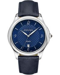 Emporio Armani - Men's Automatic Esedra Blue Leather Strap Watch 43mm - Lyst