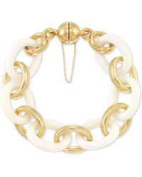 Signature Gold - Tm White Agate Large Link Bracelet In 14k Gold Over Resin Core - Lyst