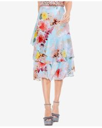 Vince Camuto - Faded Blooms Floral-print Tiered Skirt - Lyst
