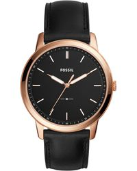 46a354d967a977 Fossil - Men's The Minimalist Black Leather Strap Watch 44mm - Lyst
