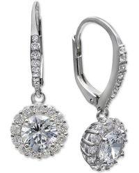Giani Bernini Cubic Zirconia Halo Drop Earrings In Sterling Silver, Created For Macy's - Metallic
