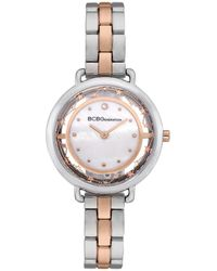BCBGeneration 2 Hands Slim Two Tone Stainless Steel Band Watch 34mm - Multicolor