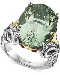 Effy Collection Effy® Green Amethyst Statement Ring (13 Ct. T.w.) In Sterling Silver & 18k Gold - Multicolour