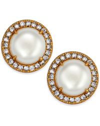 Kate Spade - Gold-tone Pavé & Imitation Pearl Button Earrings - Lyst