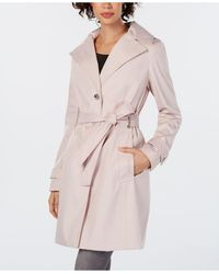 Calvin Klein Petite Belted Hooded Water Resistant Trench Coat, Created For Macys - Pink