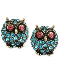 Betsey Johnson Pavé Owl Stud Earrings - Blue