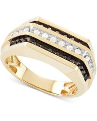 Macy's - Men's Diamond (1/2 Ct. T.w.) Squared Three-row Ring In 10k Gold - Lyst