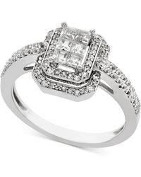 Macy's - Diamond Princess Halo Engagement Ring (1/2 Ct. T.w.) In 14k White Gold - Lyst