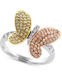 Effy Collection - Diamond Butterfly Ring (3/8 Ct. T.w.) In 14k White Gold, Rose Gold And Gold - Lyst