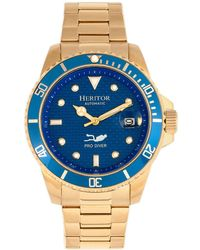 Heritor - Automatic Lucius Blue Dial, Gold Stainless Steel Watch 40mm - Lyst
