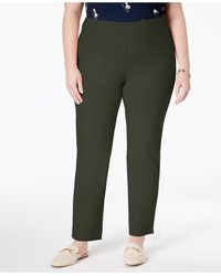 Charter Club Plus Size Cambridge Tummy-control Pull-on Pants, Created For Macy's - Green