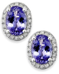 Macy's - Tanzanite (1-1/2 Ct. T.w.) And Diamond (1/5 Ct. T.w.) Oval Stud Earrings In 14k White Gold - Lyst