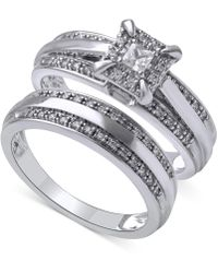 Beautiful Beginnings - Diamond Halo Ring Set In 14k White Gold (1/3 Ct. T.w.) - Lyst