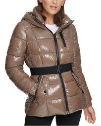 Calvin Klein Shine Hooded Puffer Coat - Brown
