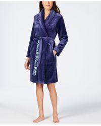 Sesoire Fleece Dotted-trim Robe - Blue