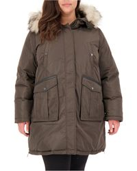 Vince Camuto Plus Size Faux-fur-trim Hooded Puffer Coat - Brown