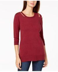 Love Scarlett Petite Cold-shoulder Sweater - Red