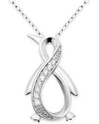 "Macy's - Diamond Infinity Penguin 18"" Pendant Necklace (1/10 Ct. T.w.) In Sterling Silver - Lyst"