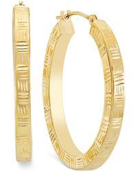 Macy's - Etched Hoop Earrings In 10k Gold - Lyst
