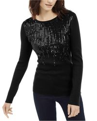 INC International Concepts Inc Petite Sequined Ribbed-knit Sweater, Created For Macy's - Black