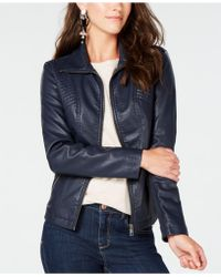 Style & Co. Faux-leather Moto Jacket, Created For Macy's - Blue