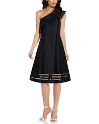Adrianna Papell Macato One-shoulder Dress - Black
