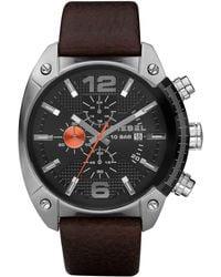 DIESEL Men's Full Guard Brown Leather Strap Smart Watch 48mm