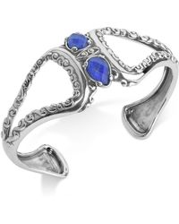 Carolyn Pollack Lapis Lazuli/rock Quartz Openwork Statement Cuff Bracelet (4-1/5 Ct. T.w.) In Sterling Silver - Metallic