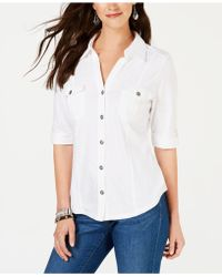 Style & Co. Collared Button-front Shirt - White