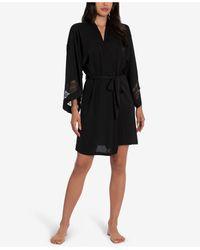 Linea Donatella Embroidered Wrap Robe - Black