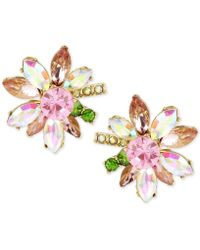 Betsey Johnson Gold-tone Multi-crystal Flower Stud Earrings - Metallic