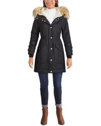 Guess Faux-fur Trim Hooded Anorak, Created For Macy's - Black