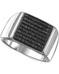 Macy's - Men's Black Diamond (3/4 Ct. T.w.) Ring In Sterling Silver - Lyst