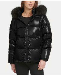 DKNY High-shine Faux-fur-trim Puffer Coat - Black